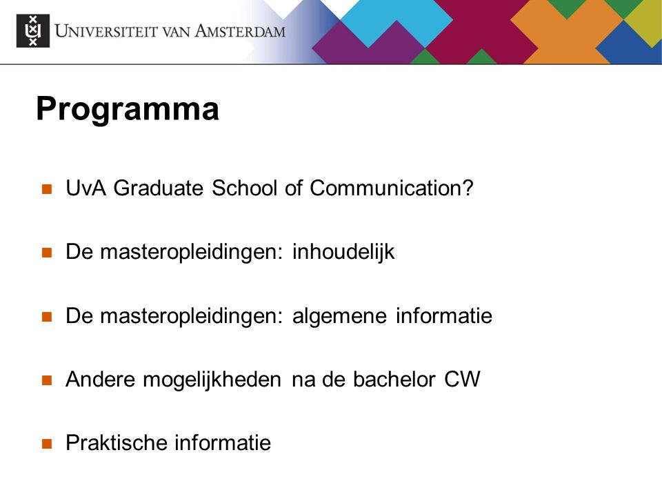 Programma UvA Graduate School of Communication