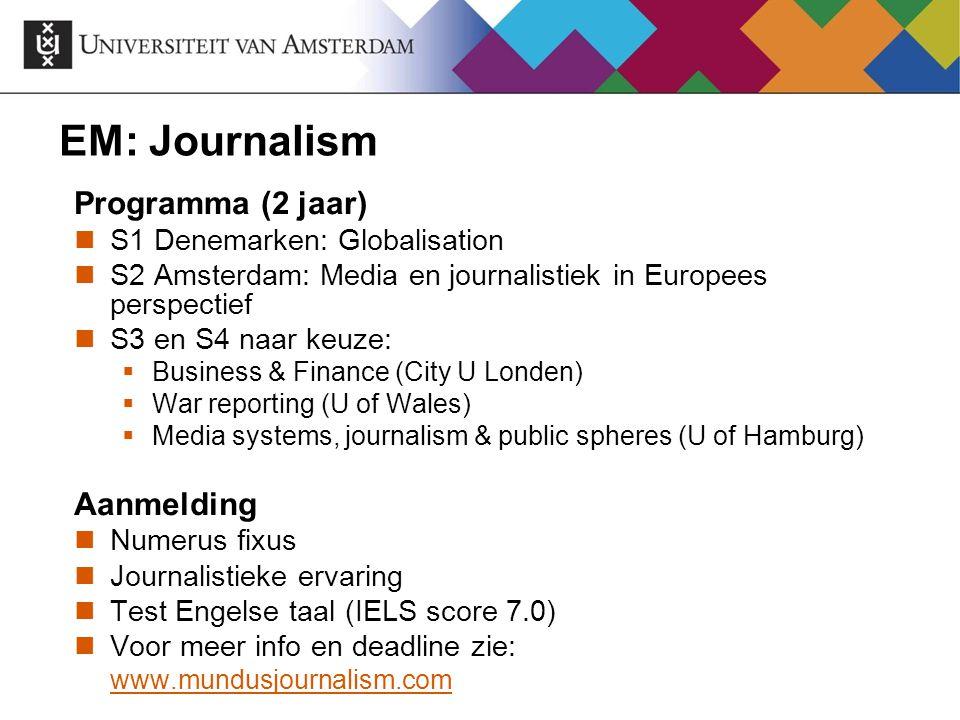 EM: Journalism Programma (2 jaar) Aanmelding