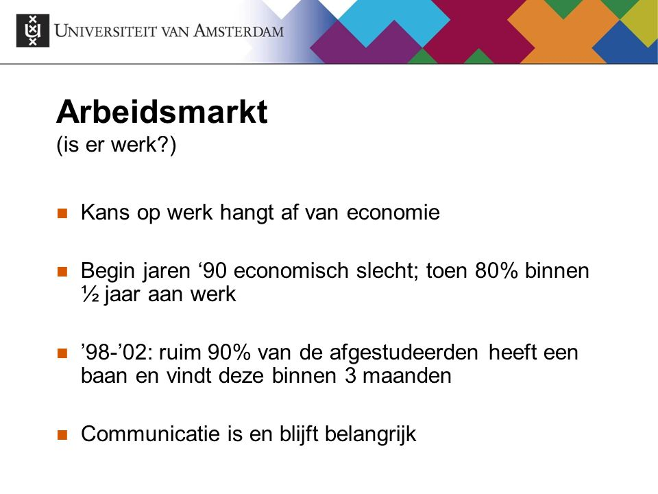 Arbeidsmarkt (is er werk )