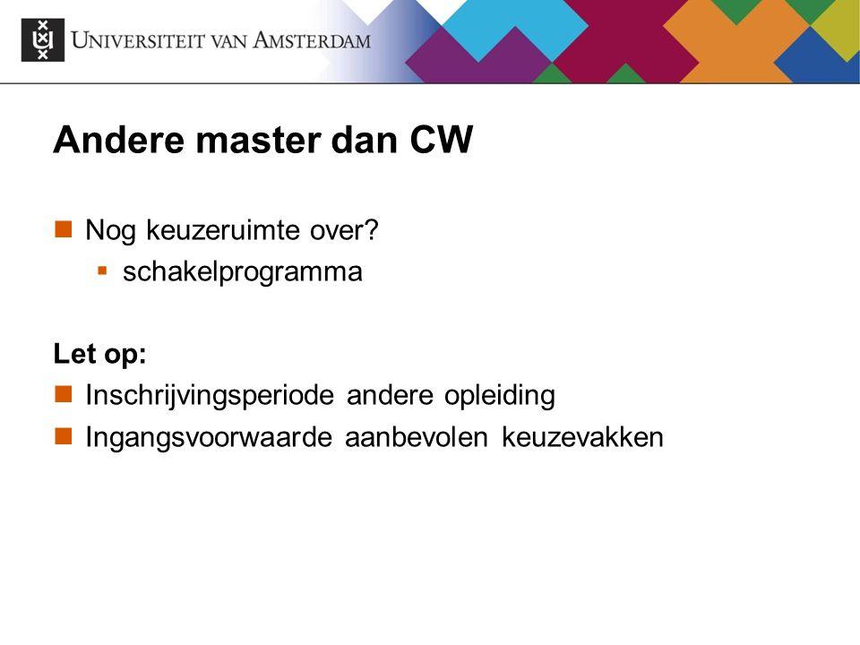 Andere master dan CW Nog keuzeruimte over schakelprogramma Let op: