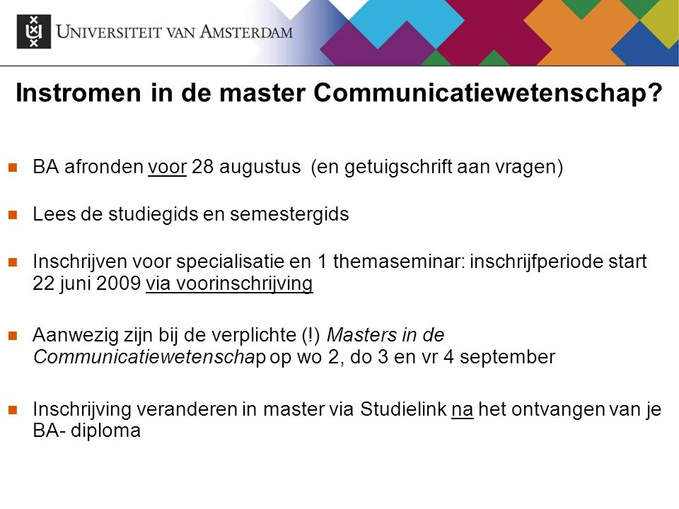 Instromen in de master Communicatiewetenschap