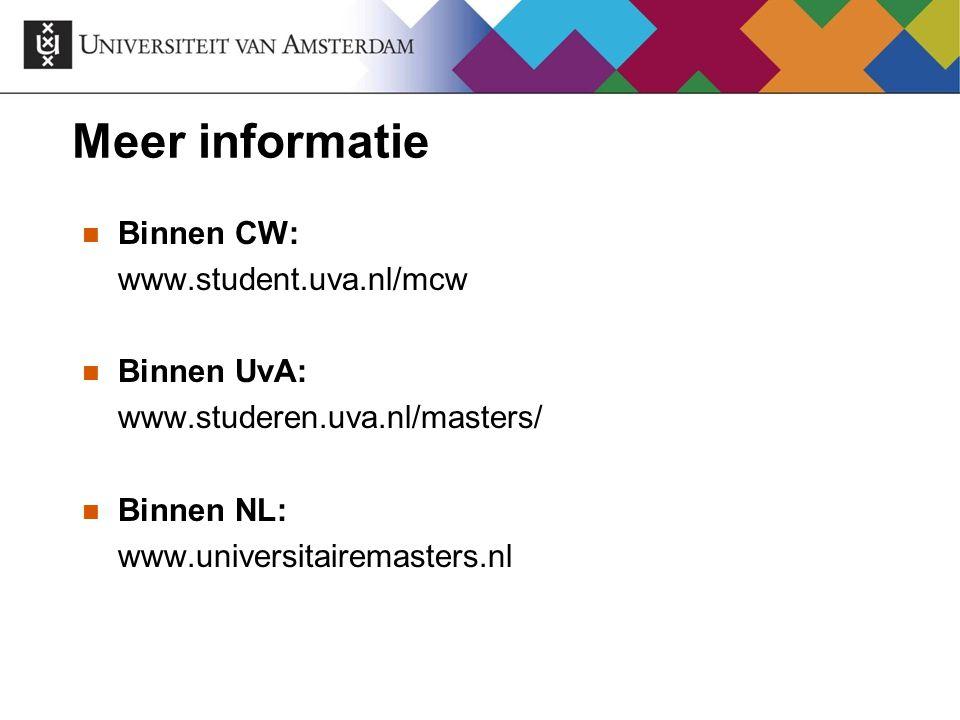 Meer informatie Binnen CW: www.student.uva.nl/mcw Binnen UvA: