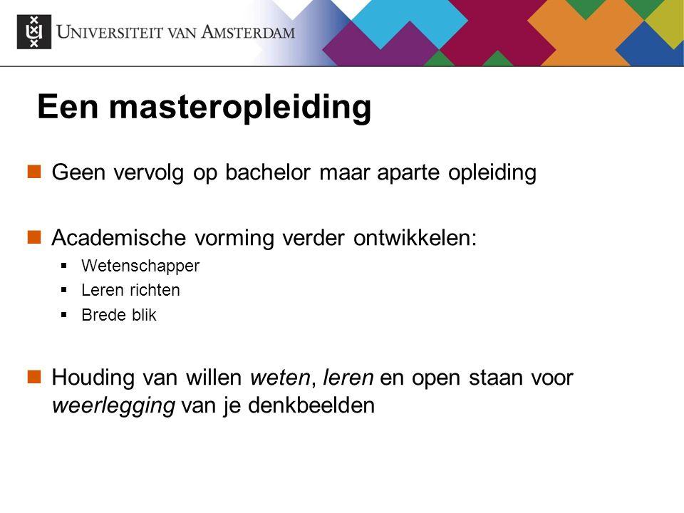 Een masteropleiding Geen vervolg op bachelor maar aparte opleiding