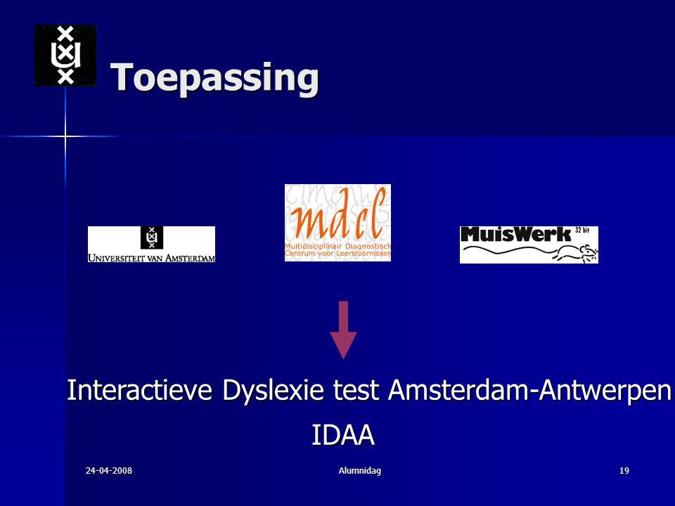 Toepassing IDAA Interactieve Dyslexie test Amsterdam-Antwerpen