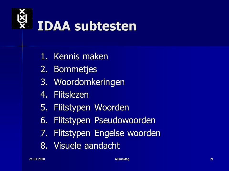 IDAA subtesten Kennis maken Bommetjes Woordomkeringen Flitslezen