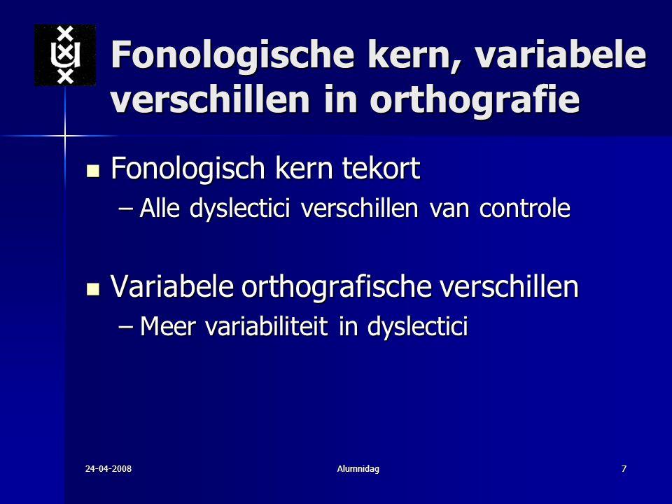 Fonologische kern, variabele verschillen in orthografie