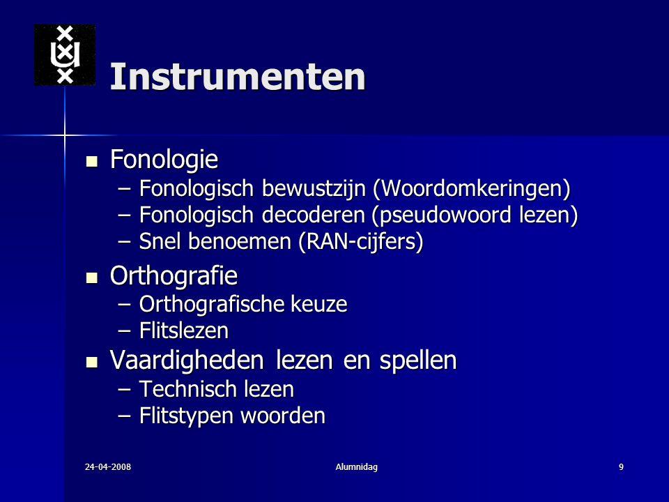 Instrumenten Fonologie Orthografie Vaardigheden lezen en spellen