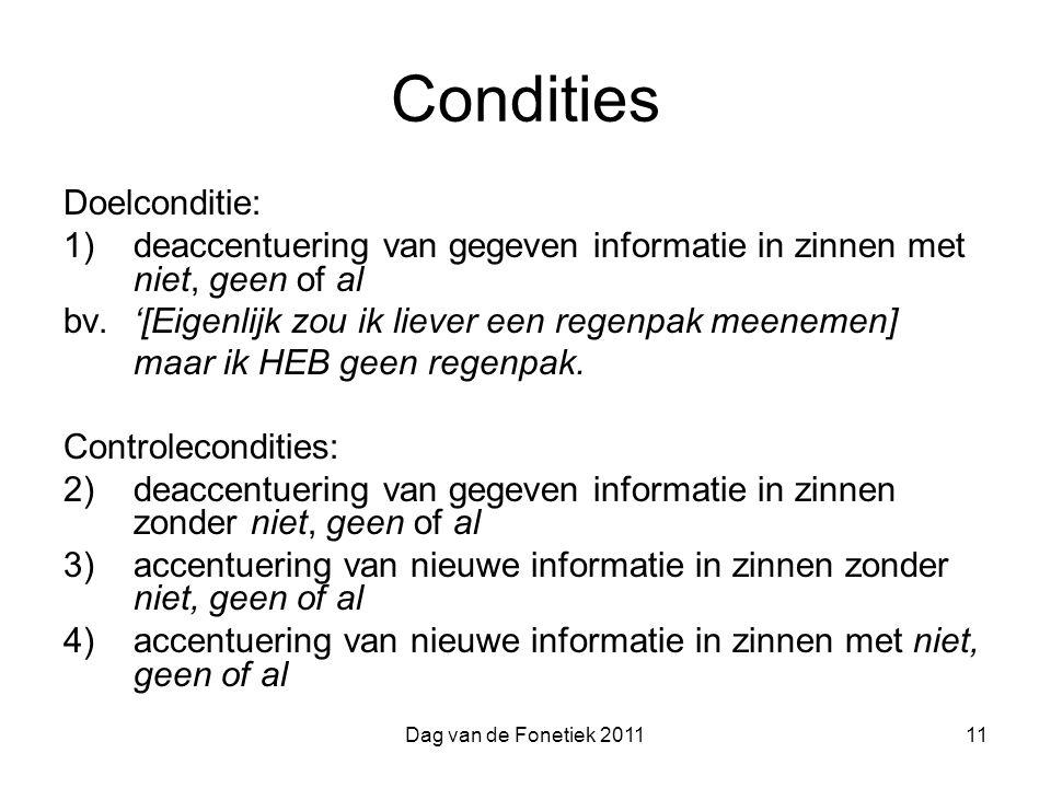 Condities Doelconditie: