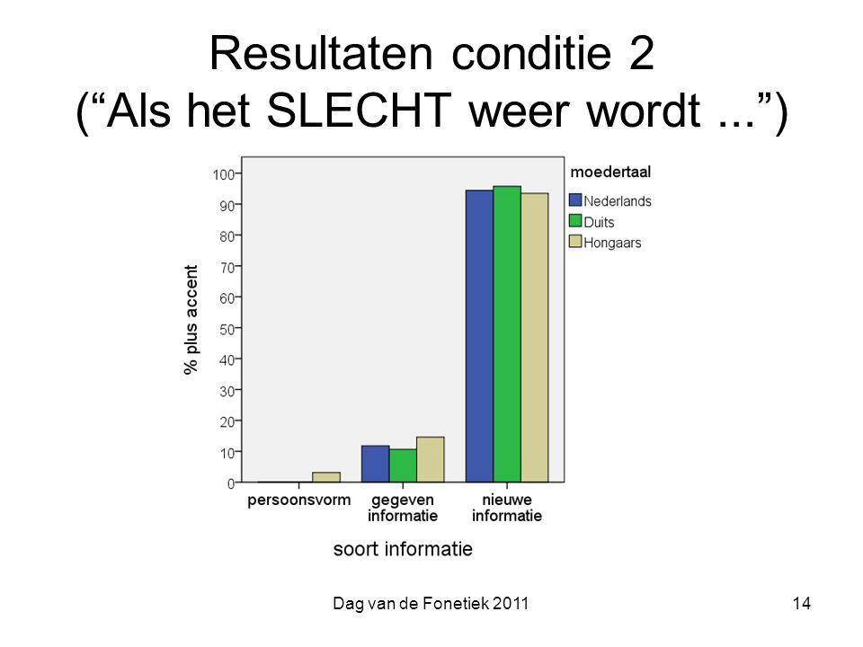 Resultaten conditie 2 ( Als het SLECHT weer wordt ... )