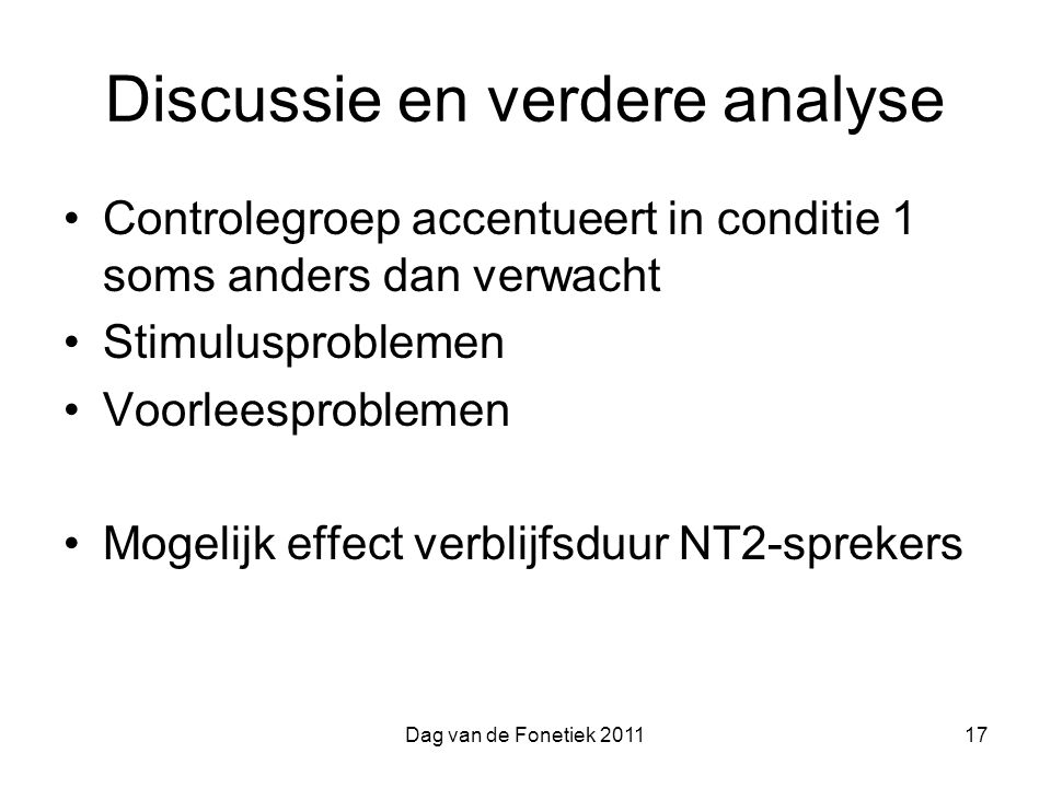 Discussie en verdere analyse