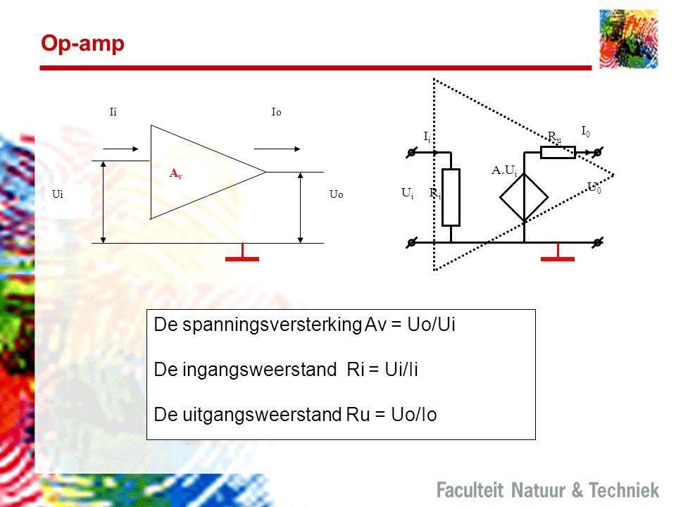 Op-amp De spanningsversterking Av = Uo/Ui