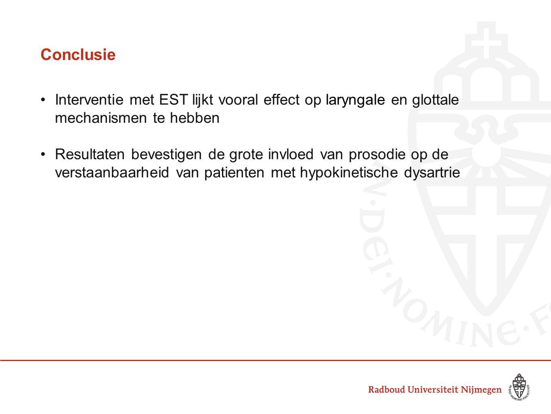 Conclusie Interventie met EST lijkt vooral effect op laryngale en glottale mechanismen te hebben.