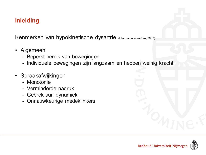 Inleiding Kenmerken van hypokinetische dysartrie (Dharmaperwira-Prins, 2002) Algemeen. Beperkt bereik van bewegingen.