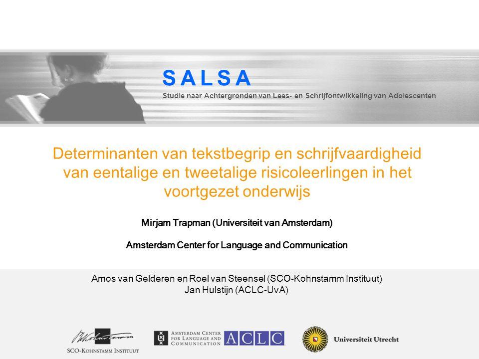 SALSA Studie naar Achtergronden van Lees- en Schrijfontwikkeling van Adolescenten.