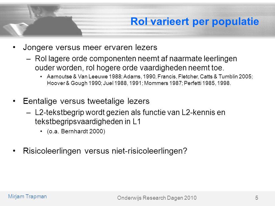 Rol varieert per populatie
