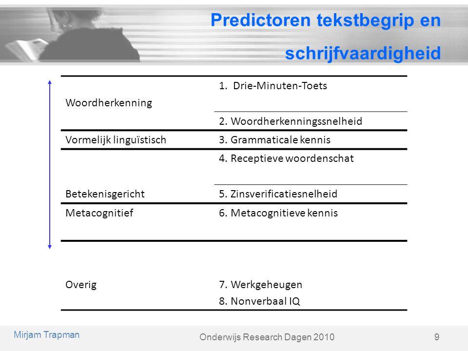Predictoren tekstbegrip en schrijfvaardigheid