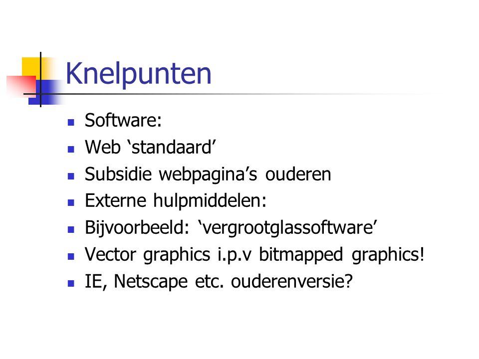 Knelpunten Software: Web 'standaard' Subsidie webpagina's ouderen