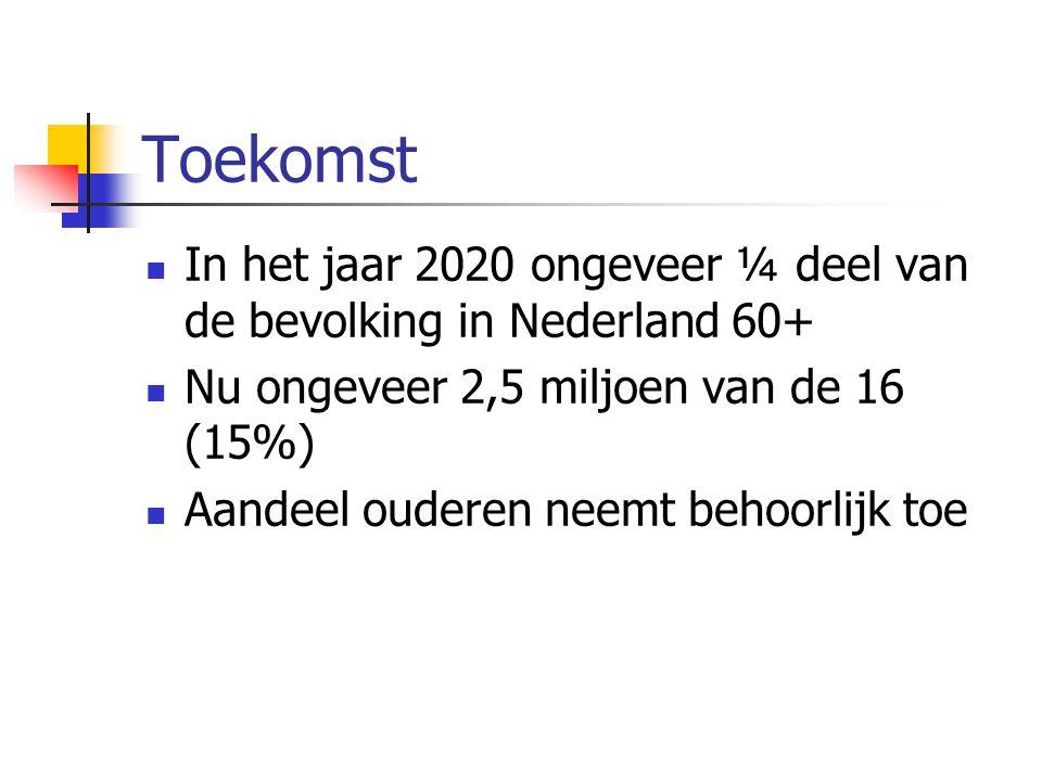 Toekomst In het jaar 2020 ongeveer ¼ deel van de bevolking in Nederland 60+ Nu ongeveer 2,5 miljoen van de 16 (15%)