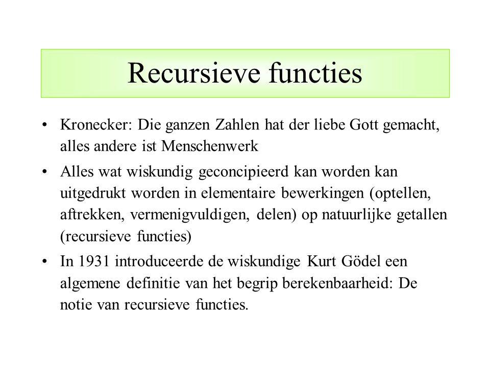 Recursieve functies Kronecker: Die ganzen Zahlen hat der liebe Gott gemacht, alles andere ist Menschenwerk.