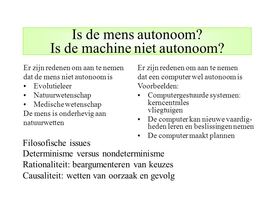 Is de mens autonoom Is de machine niet autonoom