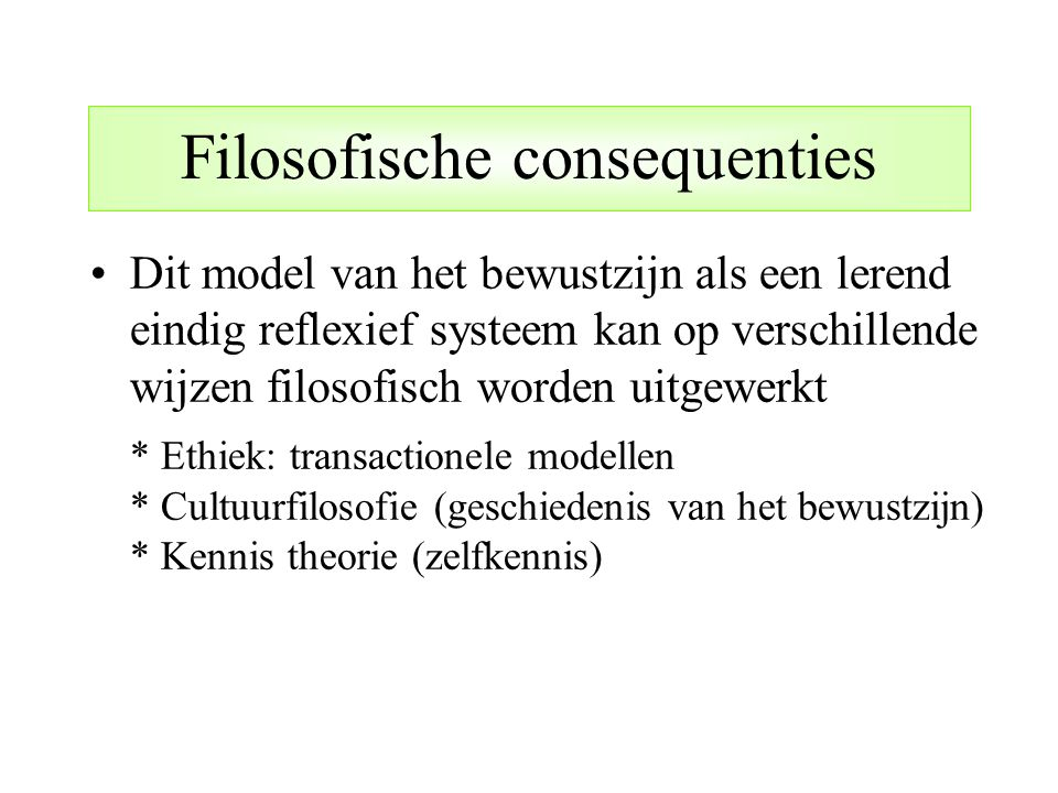 Filosofische consequenties