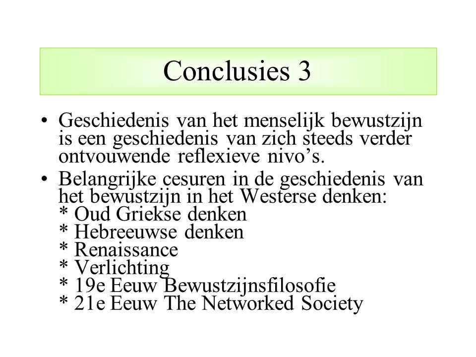 Conclusies 3 Geschiedenis van het menselijk bewustzijn is een geschiedenis van zich steeds verder ontvouwende reflexieve nivo's.