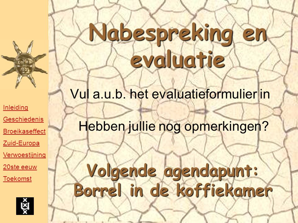 Nabespreking en evaluatie