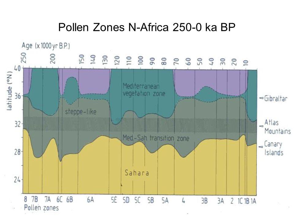 Pollen Zones N-Africa 250-0 ka BP