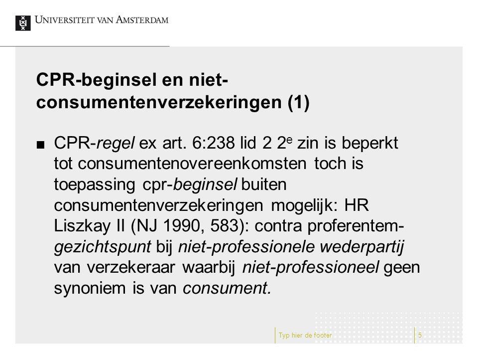 CPR-beginsel en niet-consumentenverzekeringen (1)