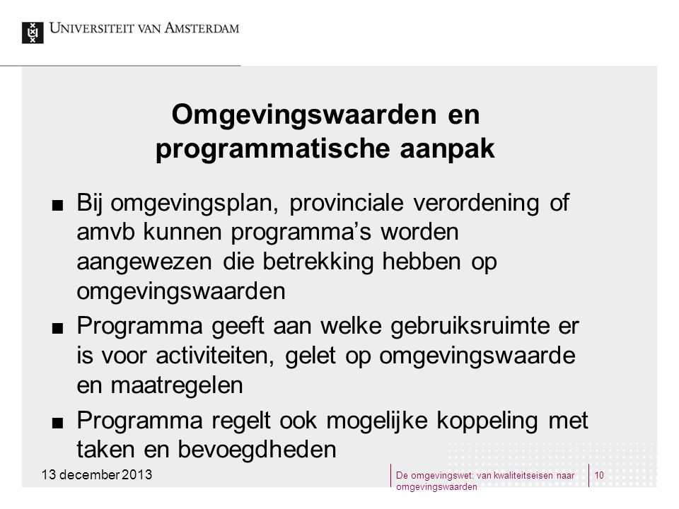 Omgevingswaarden en programmatische aanpak