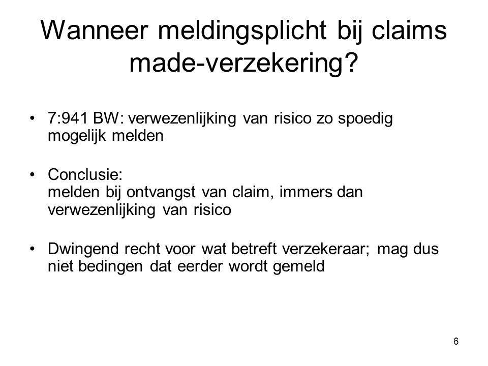 Wanneer meldingsplicht bij claims made-verzekering