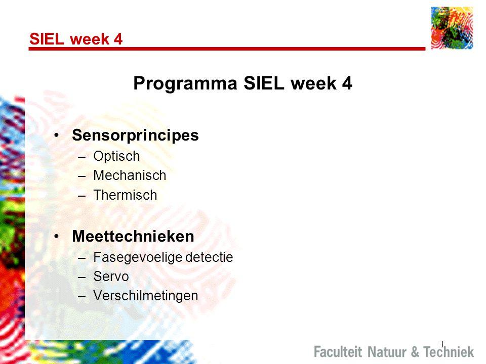 Programma SIEL week 4 SIEL week 4 Sensorprincipes Meettechnieken