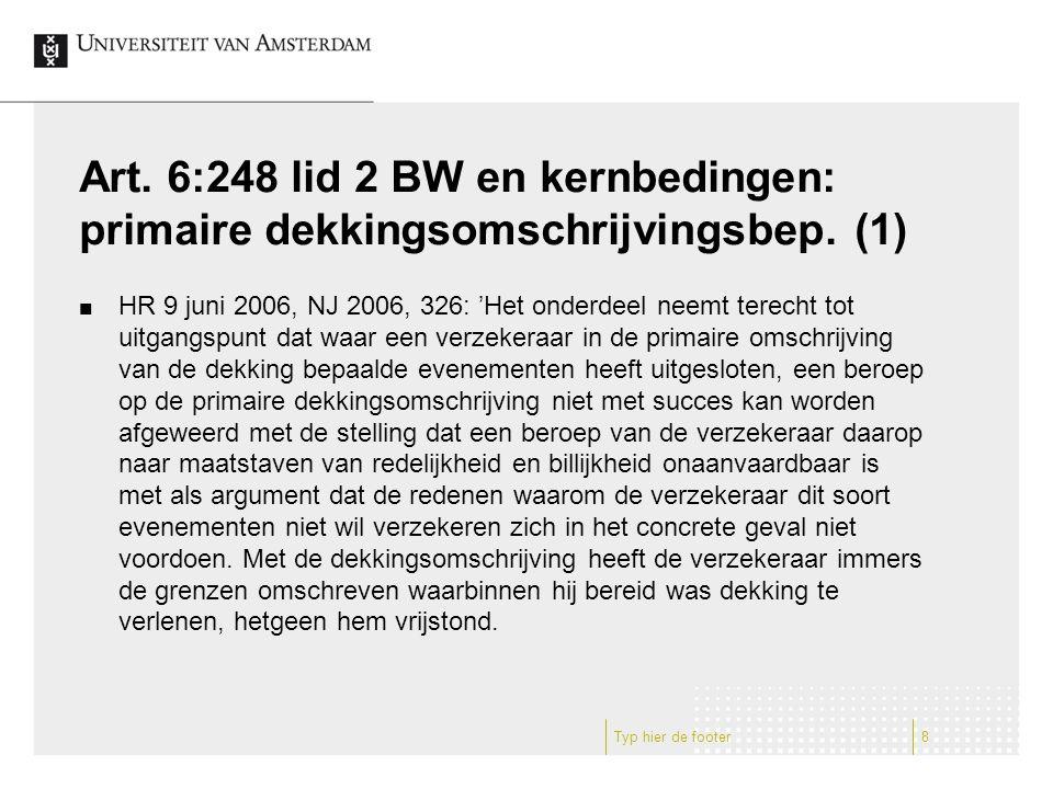 Art. 6:248 lid 2 BW en kernbedingen: primaire dekkingsomschrijvingsbep
