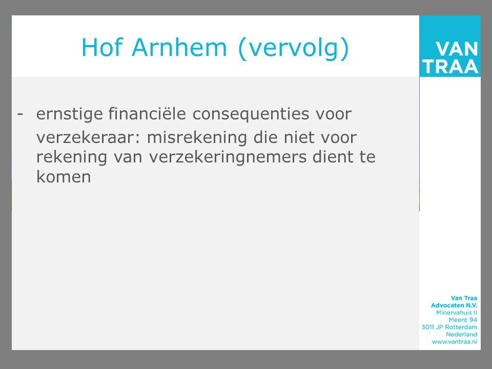 Hof Arnhem (vervolg) ernstige financiële consequenties voor