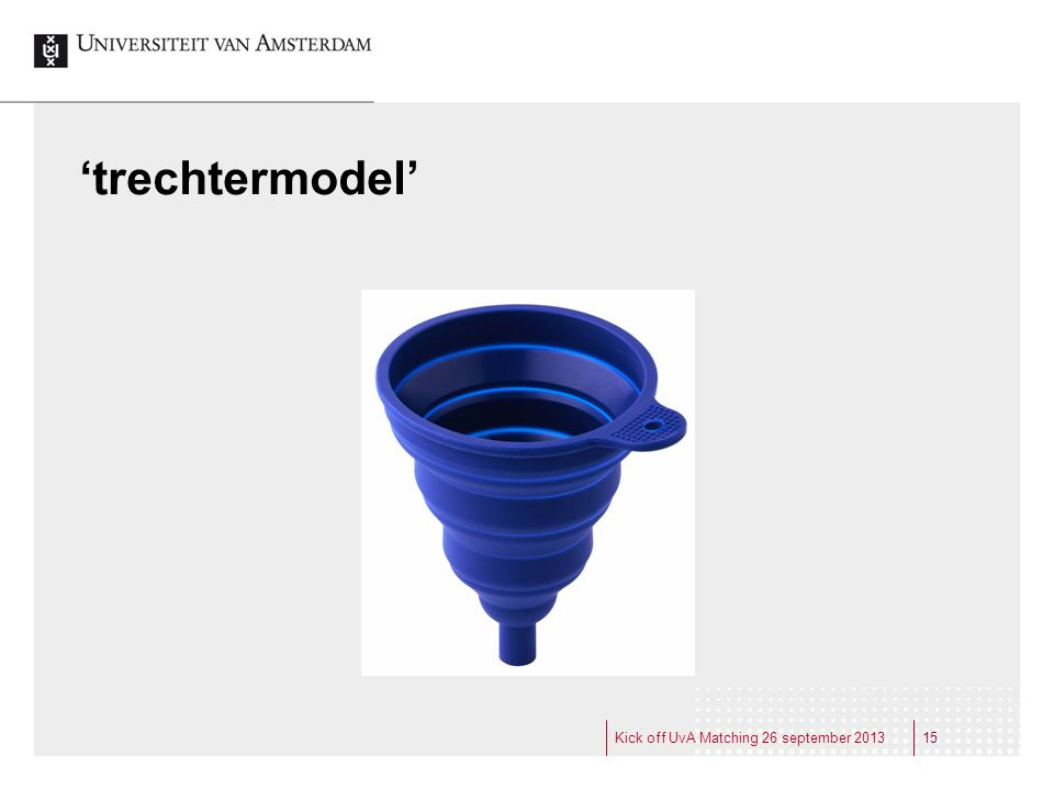 'trechtermodel' Kick off UvA Matching 26 september 2013