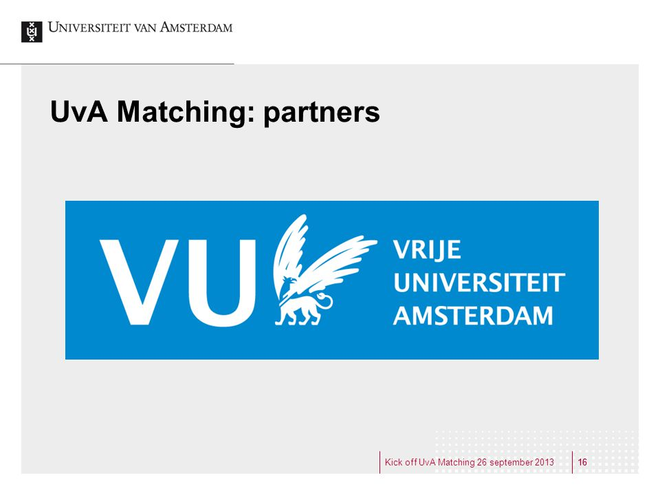 UvA Matching: partners
