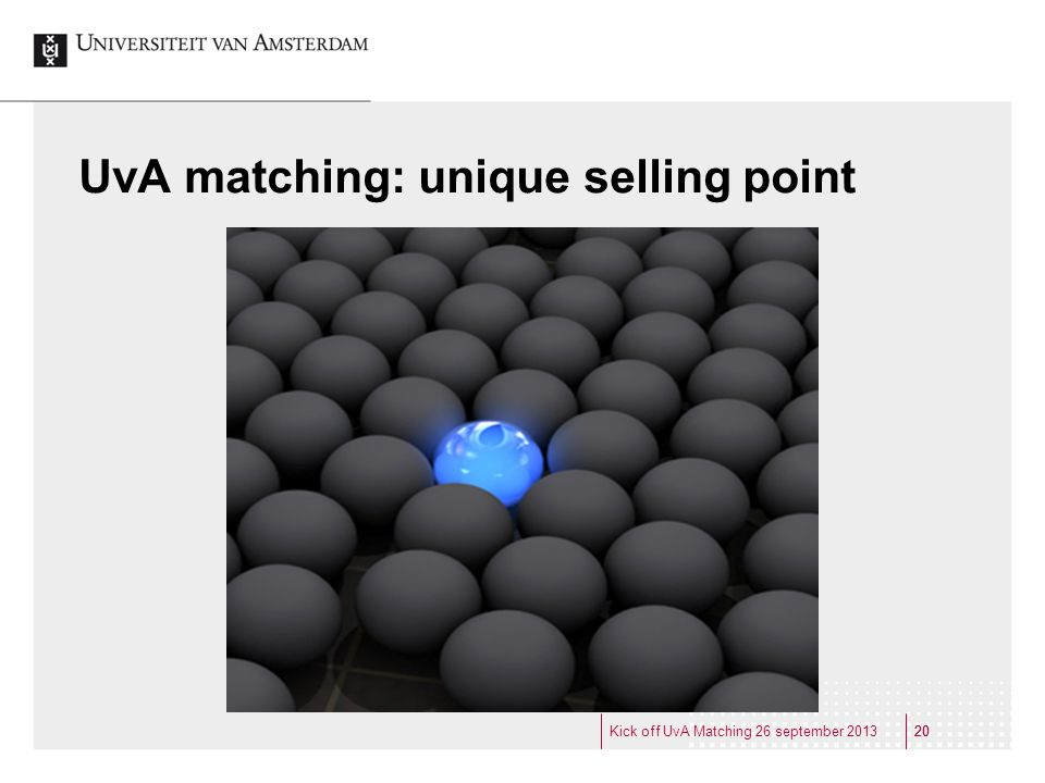 UvA matching: unique selling point