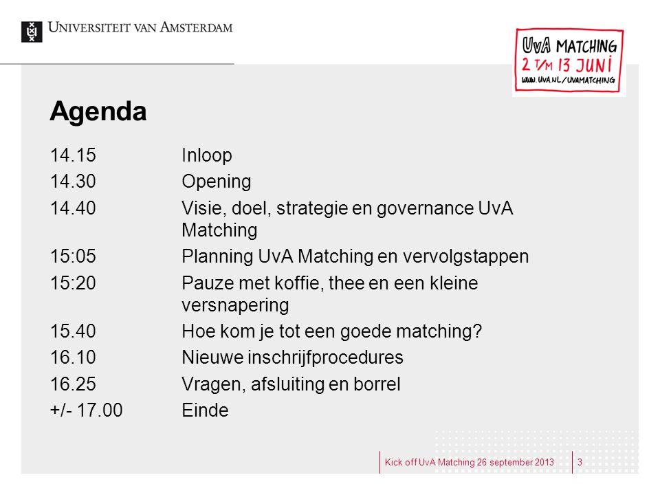 Agenda 14.15 Inloop. 14.30 Opening. 14.40 Visie, doel, strategie en governance UvA Matching.