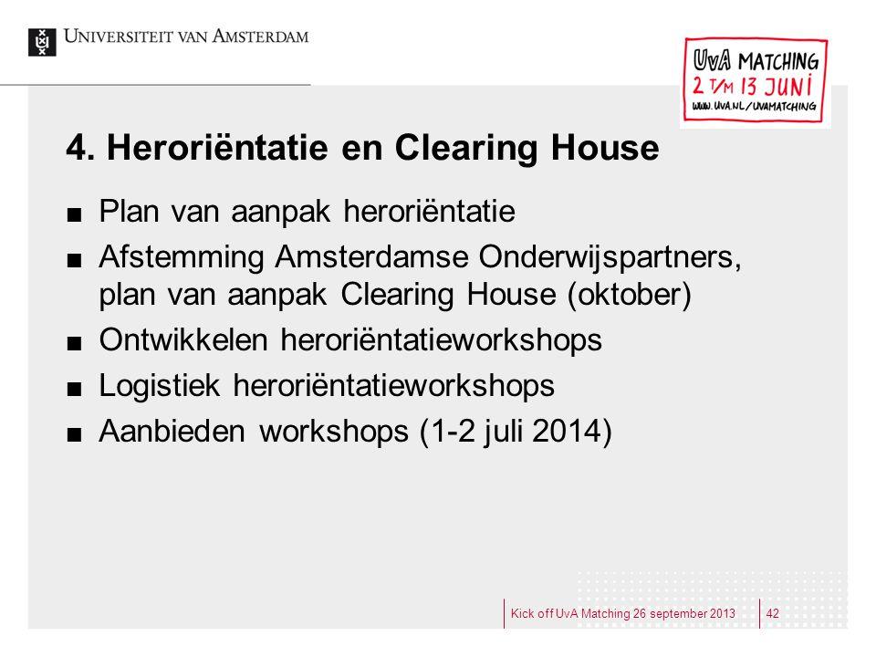 4. Heroriëntatie en Clearing House