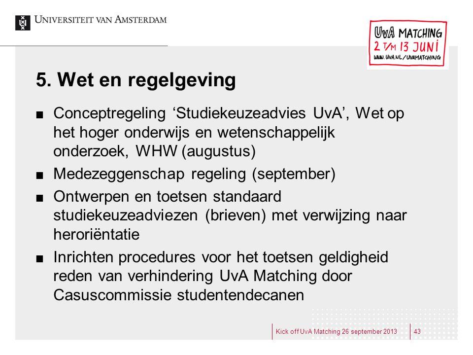 5. Wet en regelgeving Conceptregeling 'Studiekeuzeadvies UvA', Wet op het hoger onderwijs en wetenschappelijk onderzoek, WHW (augustus)