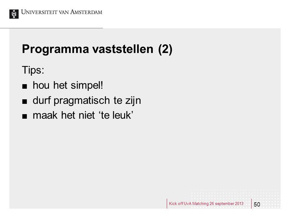 Programma vaststellen (2)