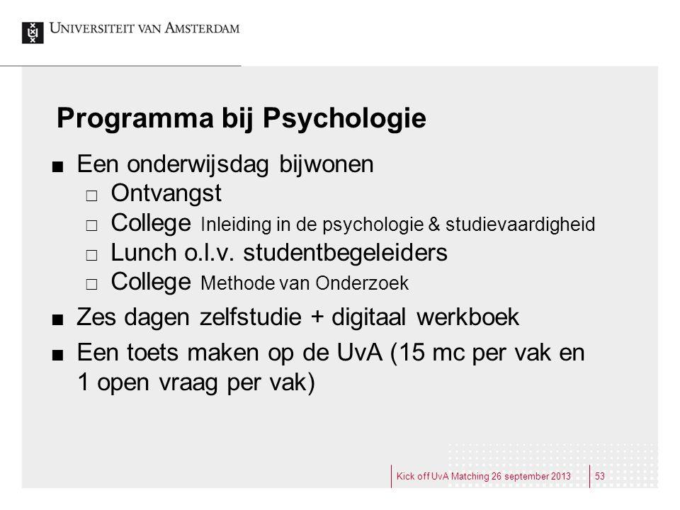 Programma bij Psychologie