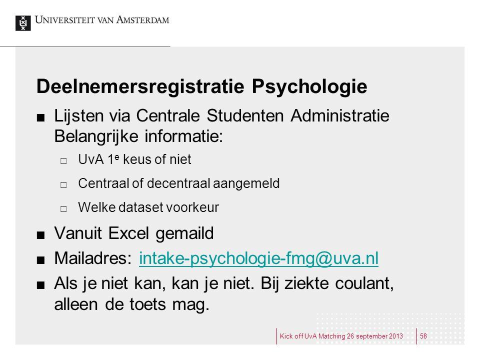 Deelnemersregistratie Psychologie