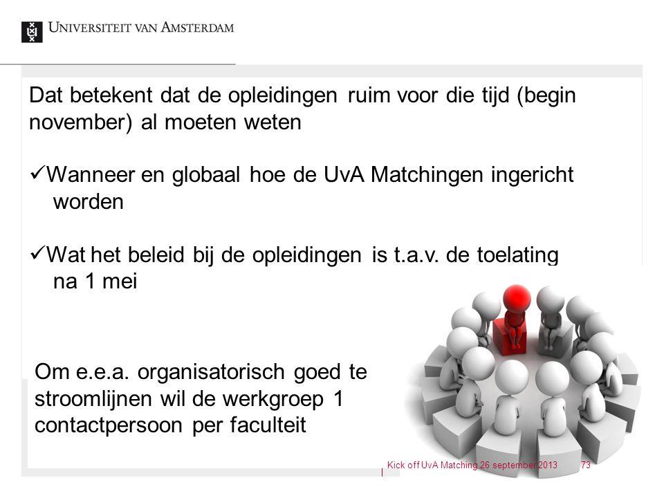 Wanneer en globaal hoe de UvA Matchingen ingericht worden