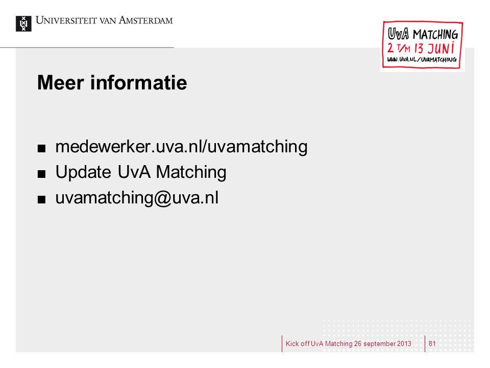 Meer informatie medewerker.uva.nl/uvamatching Update UvA Matching