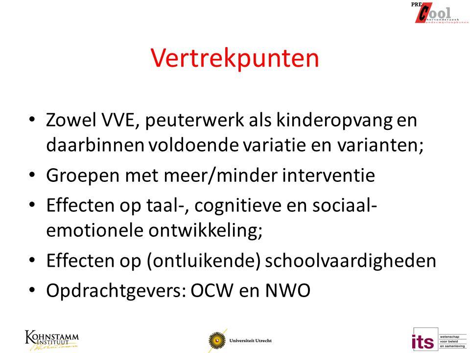 Vertrekpunten Zowel VVE, peuterwerk als kinderopvang en daarbinnen voldoende variatie en varianten;