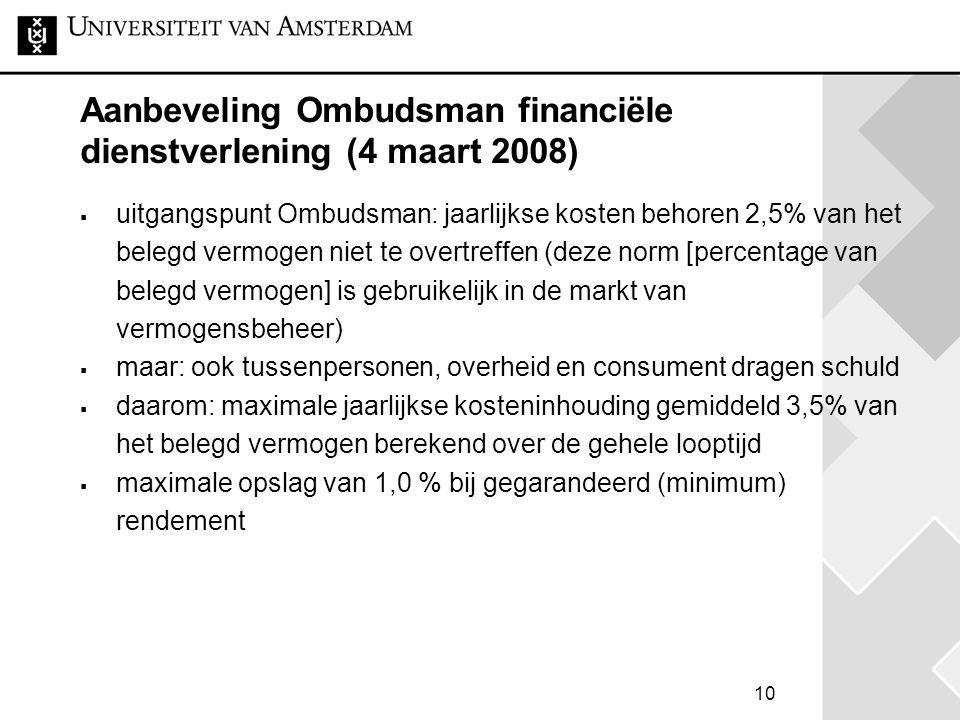 Aanbeveling Ombudsman financiële dienstverlening (4 maart 2008)