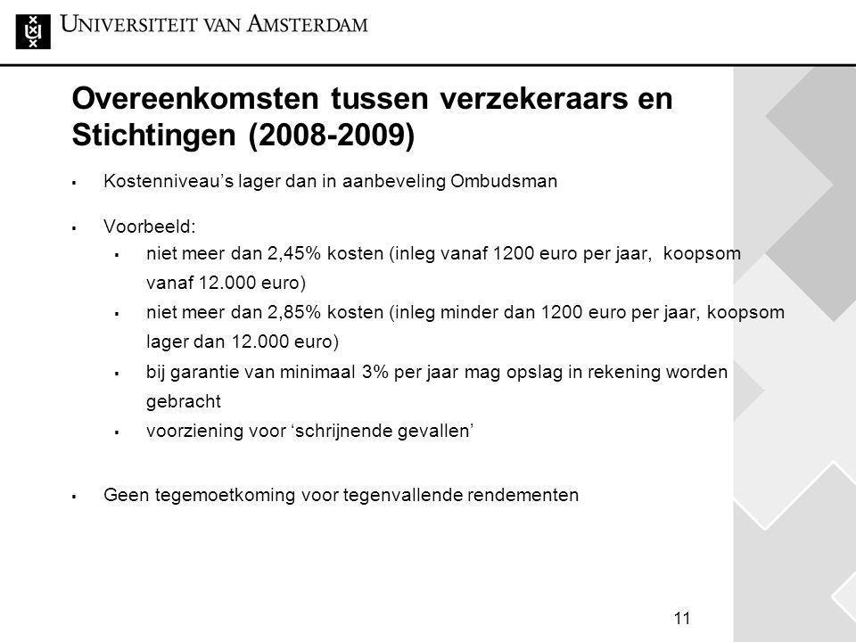 Overeenkomsten tussen verzekeraars en Stichtingen (2008-2009)