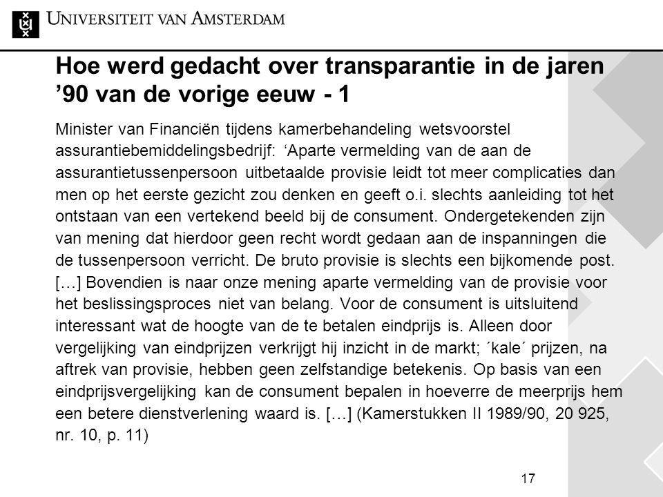 Hoe werd gedacht over transparantie in de jaren '90 van de vorige eeuw - 1