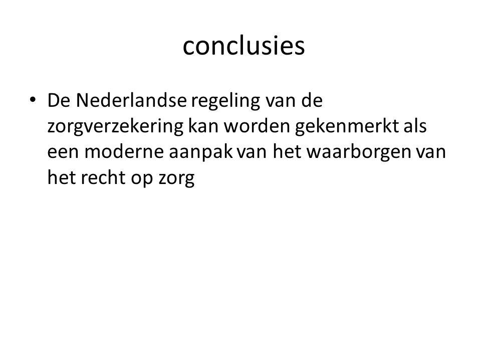 conclusies De Nederlandse regeling van de zorgverzekering kan worden gekenmerkt als een moderne aanpak van het waarborgen van het recht op zorg.